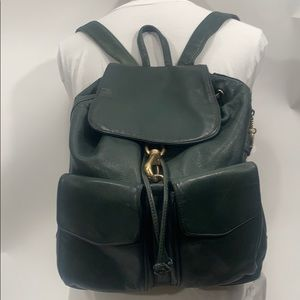 Vintage 90's Perlina green leather backpack purse